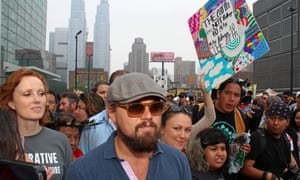 Leonardo DiCaprio on the People's Climate March in New York City, in 2014.