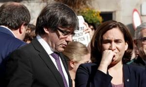 The Catalan regional president, Carles Puigdemont (left), and Barcelona's mayor, Ada Colau, on 17 September.