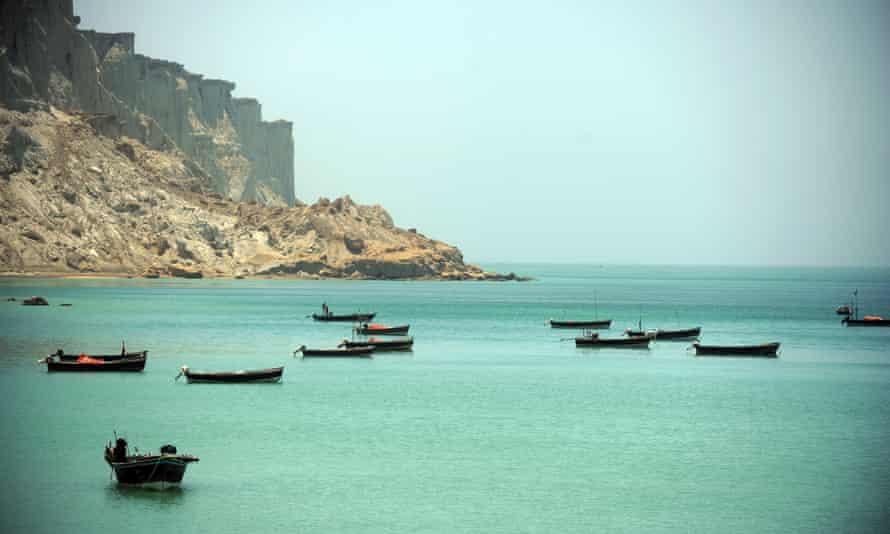 Fishing boats in the bay of Gwadar, Pakistan.