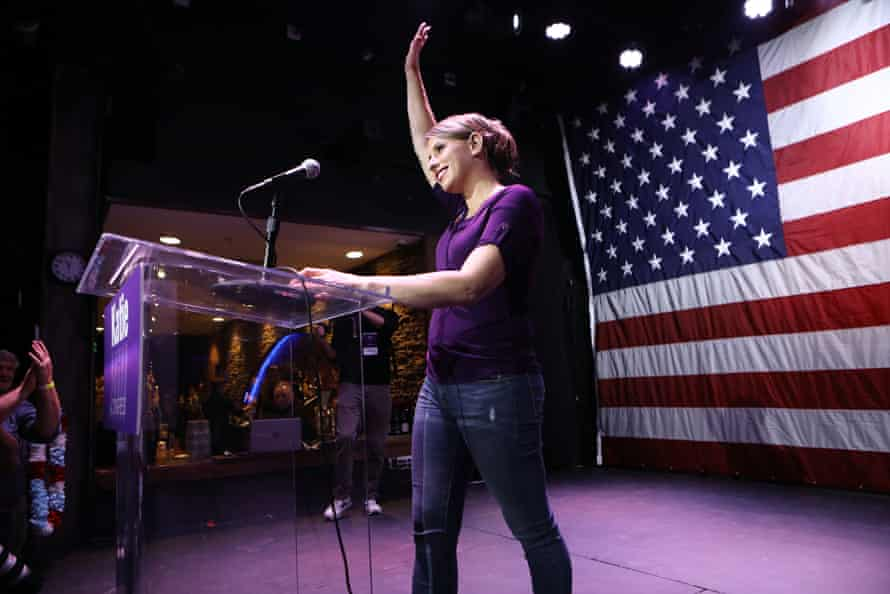 Katie Hill waves to supporters at her election night party in Santa Clarita, California, on 6 November 2018.