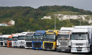 Lorries parked in Dover, Kent. Treasury minister Simon Clarke said the government wanted to encourage HGV drivers who had left the profession to come back.