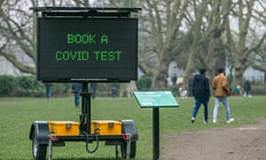 An electronic board in Fulham, west London, urging people to book a Covid test.