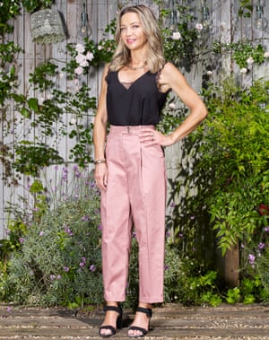 Jess Cartner-Morley in black glamisole and pink trousers