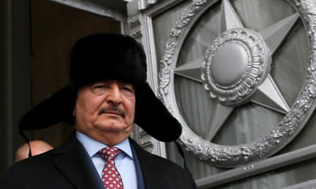 Khalifa Haftar, military commander of Libya's eastern government, leaving the meeting in the Russian foreign ministry.