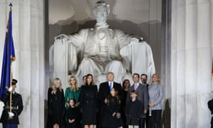 """President-elect Donald Trump stands with his family during the """"Make America Great Again Welcome Concert"""" at the Lincoln Memorial."""