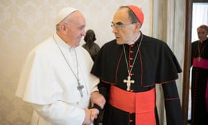 Pope Francis receives Cardinal Philippe Barbarin in Vatican City on 18 March 2019.