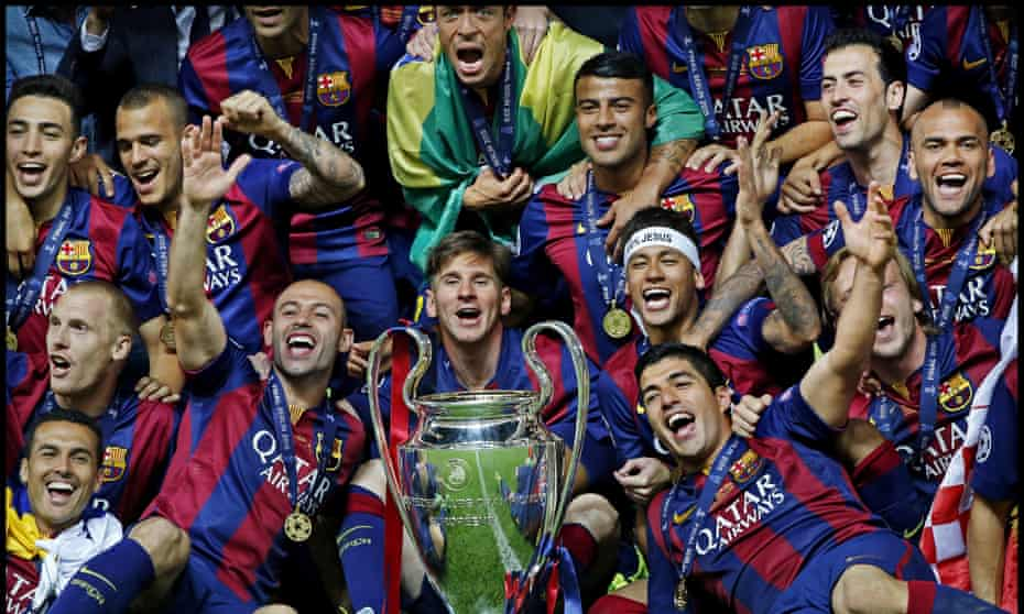 Lionel Messi and his Barcelona teammates celebrate their victory over Juventus in the 2015 Champions League final.