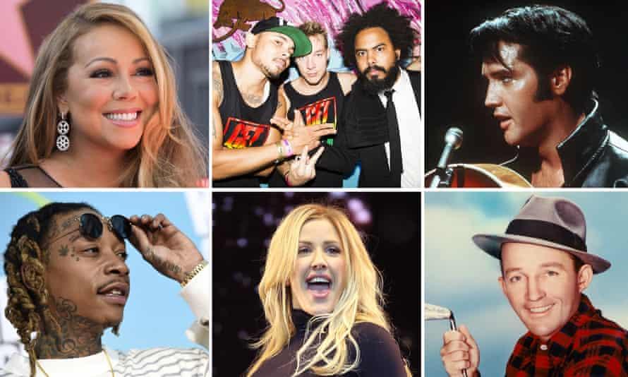 clockwise from top left: Mariah Carey, Major Lazer, Elvis Presley, Bing Crosby, Ellie Goulding and Wiz Khalifa