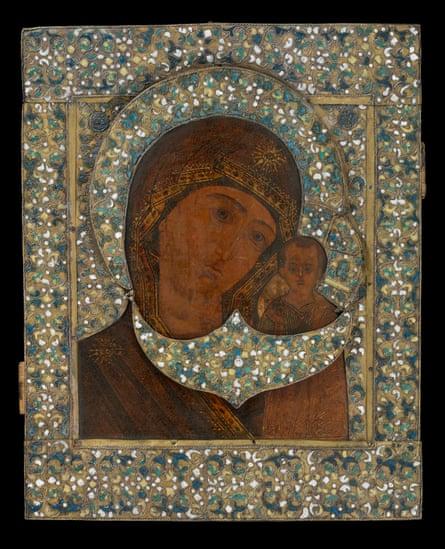 Painted Icon of the Mother of God Kazanskaya, 17th century (19th century restoration), Russia.