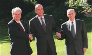 Serbia's president, Slobodan Milošević, France's president ,Jacques Chirac, and Bosnia's president, Alija Izetbegović, in October 1996 during Bosnian peace talks