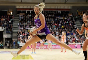 Canberra, Australia Gretel Tippett of the Firebirds in action during the round 11 Super Netball match between the Giants and Firebirds