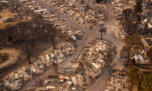 A mobile home park destroyed by fire in Phoenix, Oregon.