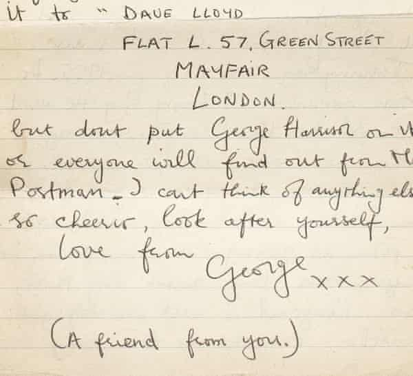 A letter from George Harrison to Astrid Kirrcher, from 1964.