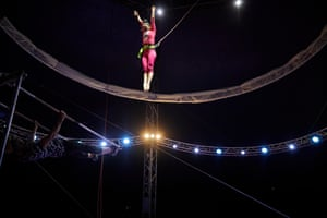 Yisel Morar, an acrobat from Big Kid Circus, tests out a routine
