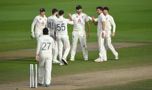 Dom Sibley celebrates after running out Asad Shafiq.