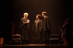 William McKenna as Scorpius Malfoy, Manali Datar as Rose Granger-Weasley and Sean Rees-Wemyss as Albus Potter.