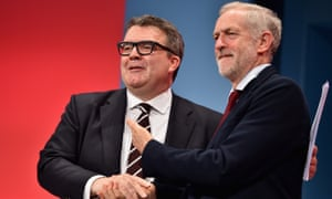 Jeremy Corbyn congratulates Tom Watson after his closing conference speech