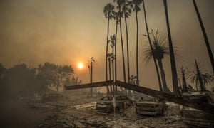 An apartment complex destroyed by wildfires in southern California in 2017. Survivors gave data to Fema when applying for transitional shelter.