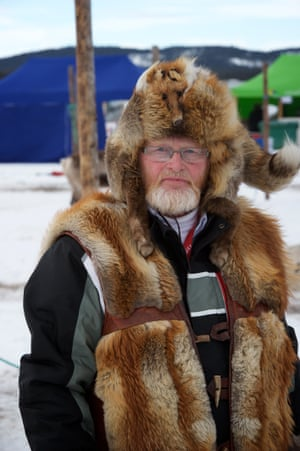 Erkki Orre, a reindeer trainer, with fox fur hat and jacket.