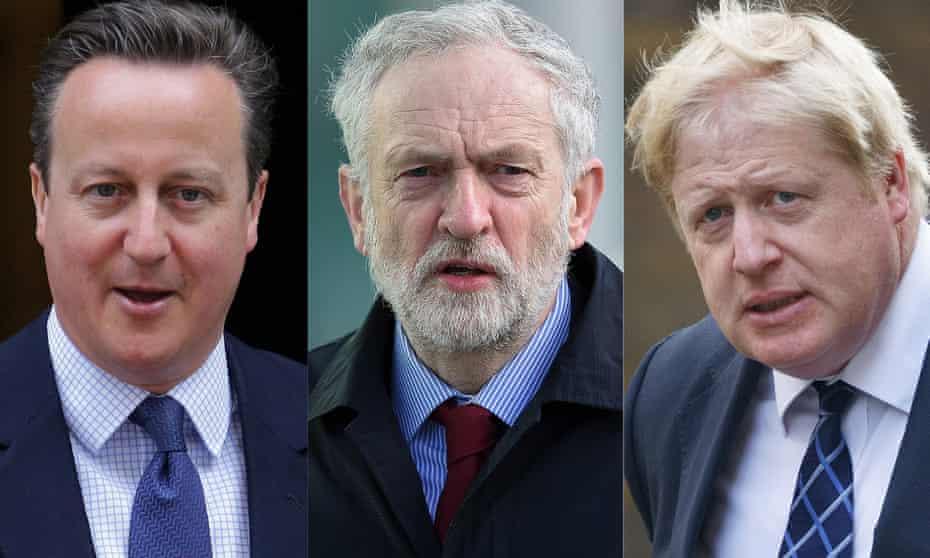 David Cameron, Jeremy Corbyn and Boris Johnson