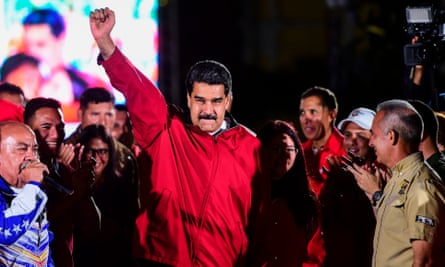 Venezuelan president Nicolas Maduro celebrates the results of the election in Caracas.