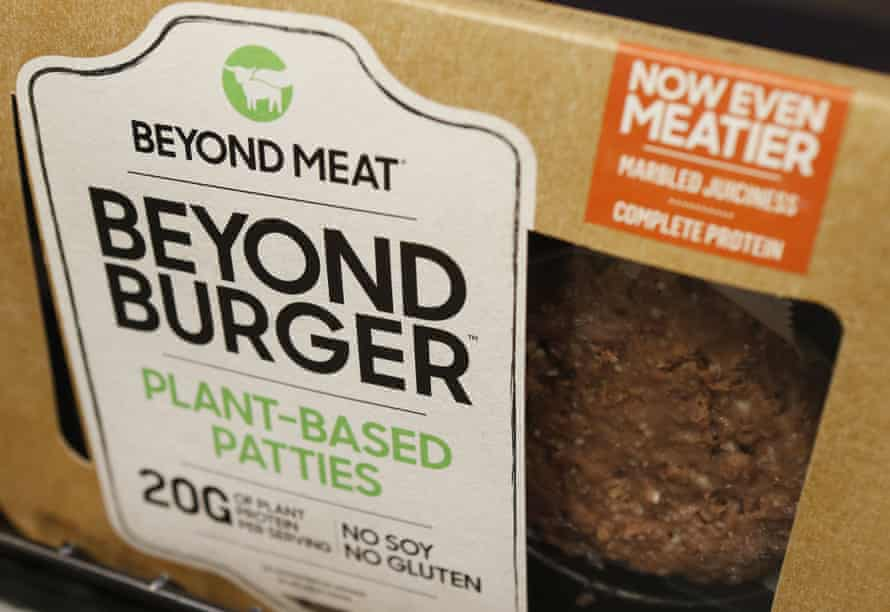 A meatless burger patty called Beyond Burger made by Beyond Meat is displayed at a grocery store in the US