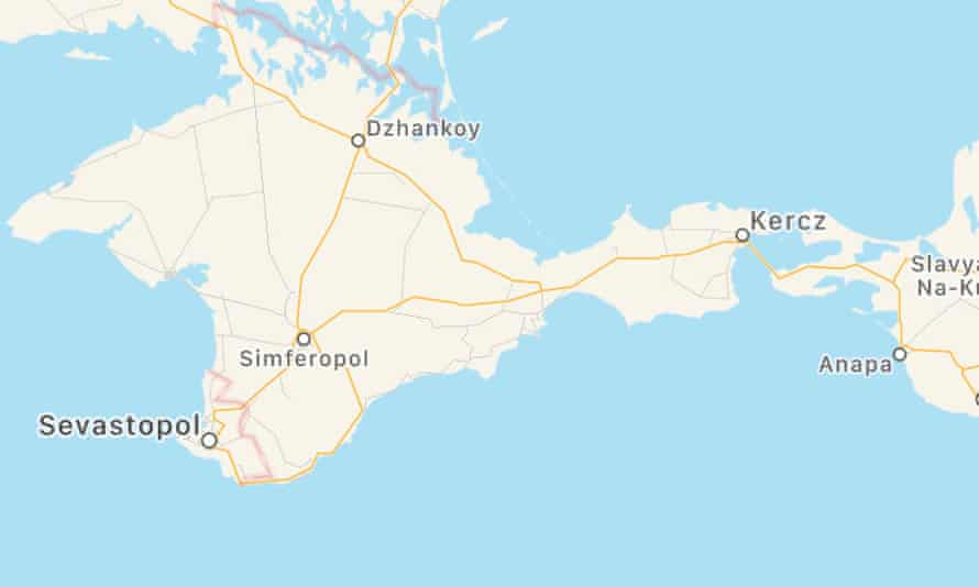 Apple Maps screenshot showing Crimea as part of Russia, not Ukraine.
