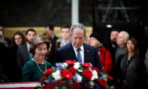 George and Laura Bush at George H.W. Bush's funeral