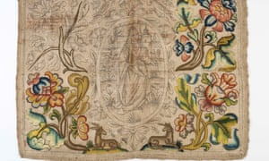 Needlework panel reputedly saved from Great Fire of London, displed by the Museum of London