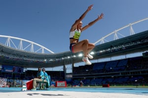 Jessica Ennis-Hill of Great Britain competes in the women's heptathlon long jump.
