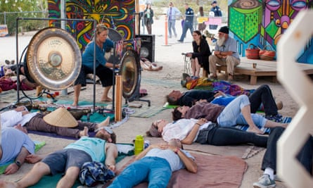 A gong bath at a music festival in California.