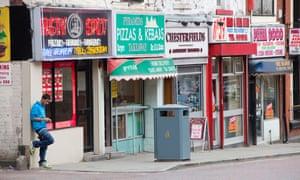 A row of takeaway food shops in Blackburn