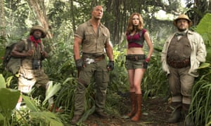 Johnson (second left) with Kevin Hart, Karen Gillan and Jack Black in Jumanji: Welcome to the Jungle.