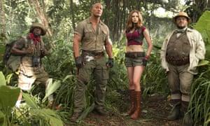 Kevin Hart, Dwayne Johnson, Karen Gillan and Jack Black in Jumanji: Welcome to the Jungle