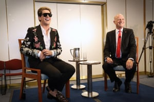 Rightwing provocateur Milo Yiannopoulos shares the stage with 'libertarian' senator David Leyonhjelm in a small room in Parliament House on Tuesday.