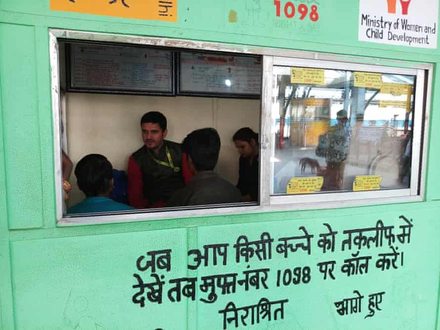 Ajish at the Childline India office at Old Delhi railway station