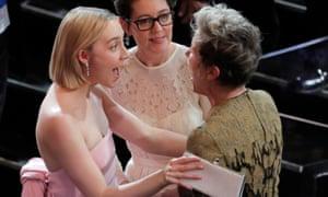 Saoirse Ronan and her mother Monica greet Frances McDormand.