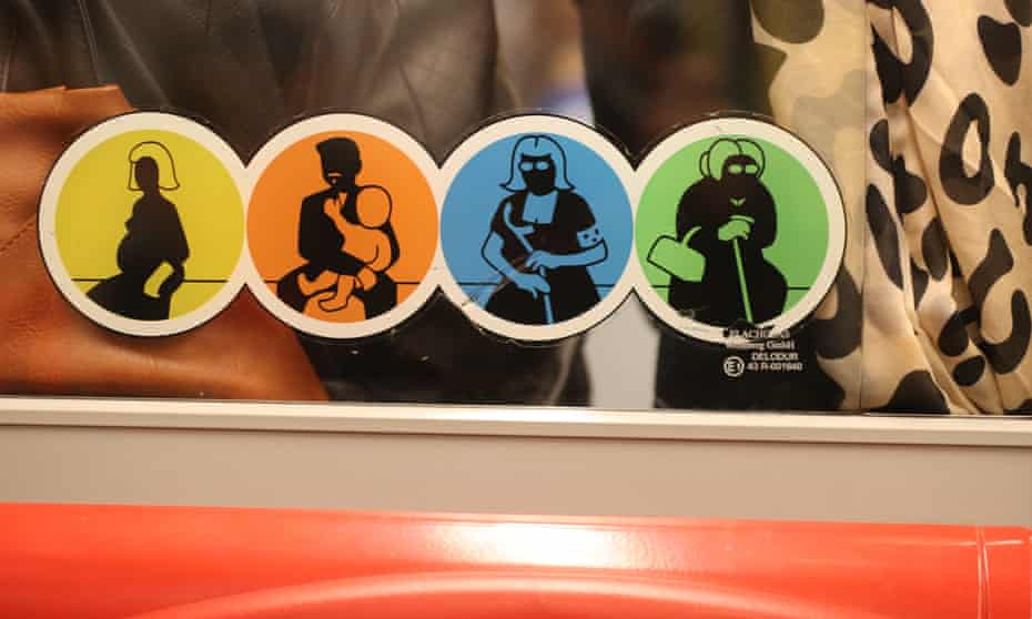 Signs on the city's U-bahn intended to raise awareness of vulnerable passengers represent men and women equally.