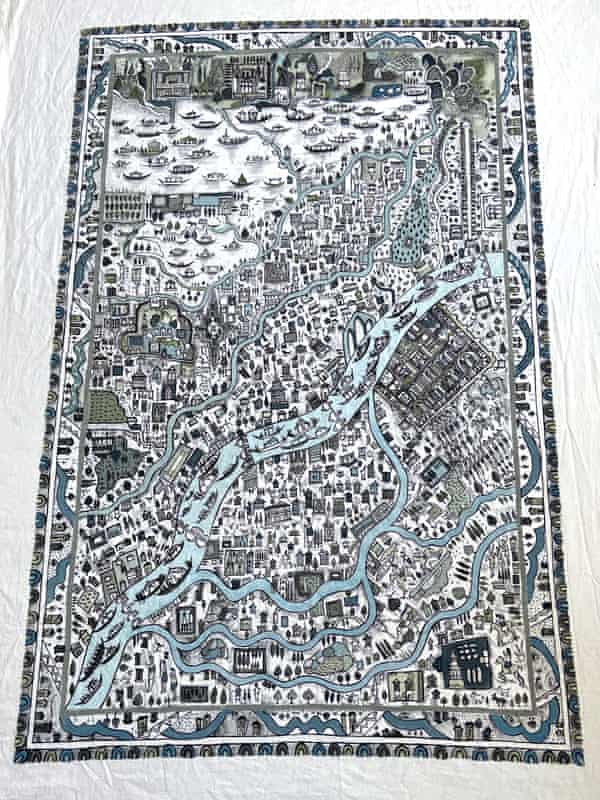 Maqbool Jan's papier-mache cloth map of Srinagar, depicting famous sites, architecture and Dal Lake