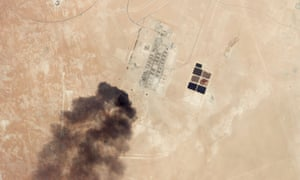 This satellite overview shows damage to oil and gas infrastructure from drone attacks at Haradh Gas Plant on 14 September 2019 in Saudi Arabia.