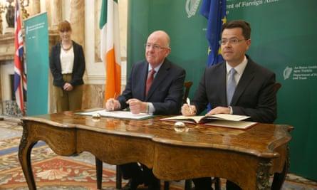 Charles Flanagan and James Brokenshire at talks in Dublin in September.