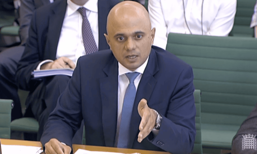 Sajid Javid appears before the home affairs select committee.