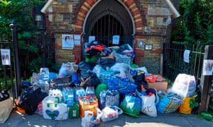 Donations left outside a church in Kensington.