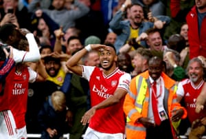 Arsenal's Pierre-Emerick Aubameyang completes a remarkable comeback for the Gunners against Aston Villa at the Emirates. Having been 1-0 down and reduced to 10 men in the 41st minute when Ainsley Maitland-Niles was sent off, they fought back to claim a 3-2 win. Aubameyang netted his seventh goal of the season to lift the Gunners back into the top four.