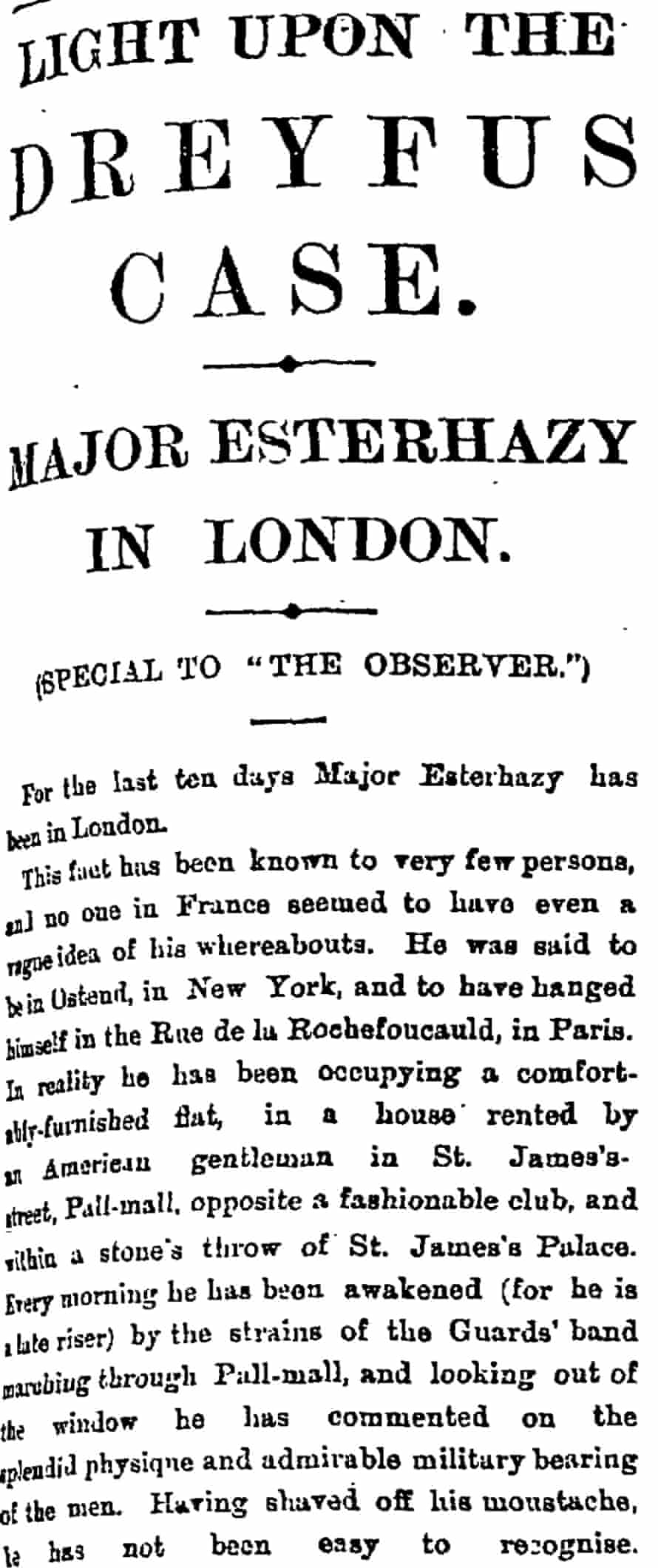 The Observer 18 September 1898 extract: Esterhazy is in London exclusive