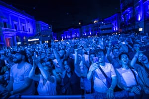 Locarno, Switzerland: The audience enjoys the performance of the US singer Christina Aguilera during the Moon and Stars festival in Locarno