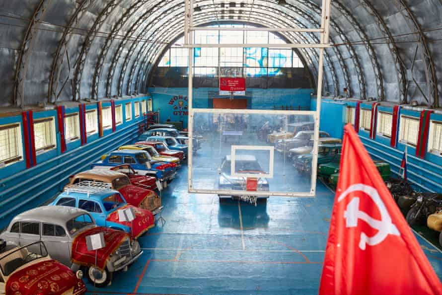 A museum of Soviet-era cars at the Luhansk base of the Night Wolves Russian biker gang