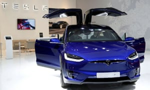 A Tesla Model X electric car at the Brussels Motor Show in January