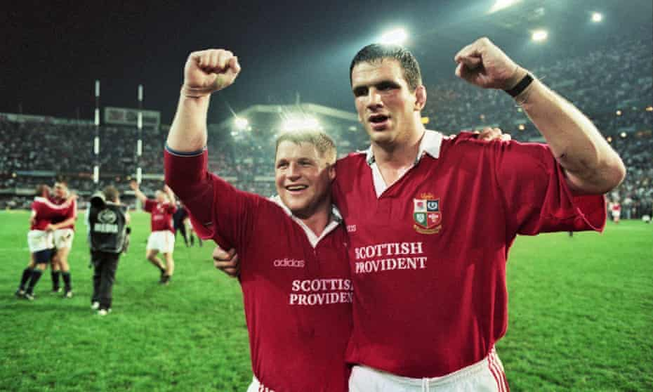 Martin Johnson with Scott Gibbs after the Lions' victory in the second Test against South Africa in 1997