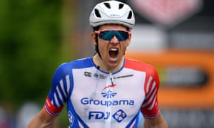 Arnaud Démare lets out a roar of celebration after holding off his rivals to win a sprint finish in Modena on Stage 10 of the Giro d'Italia.